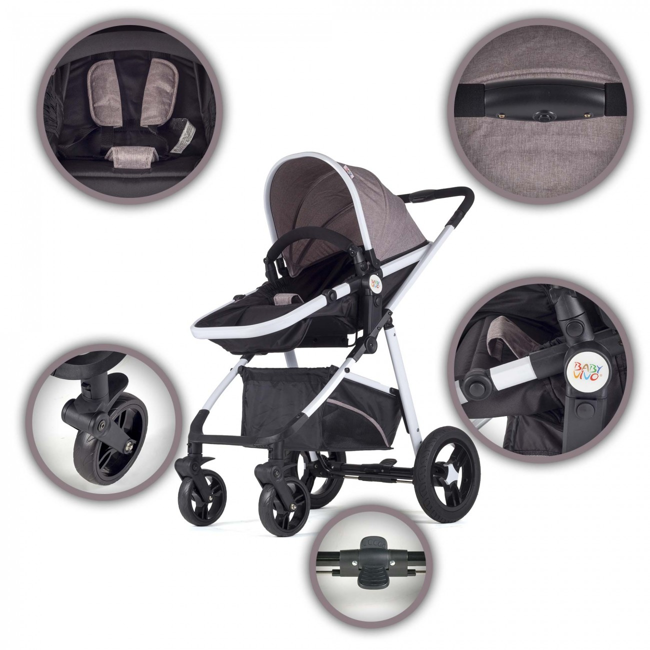 kinderwagen buggy 2in1 baby vivo kombi tragetasche sport. Black Bedroom Furniture Sets. Home Design Ideas
