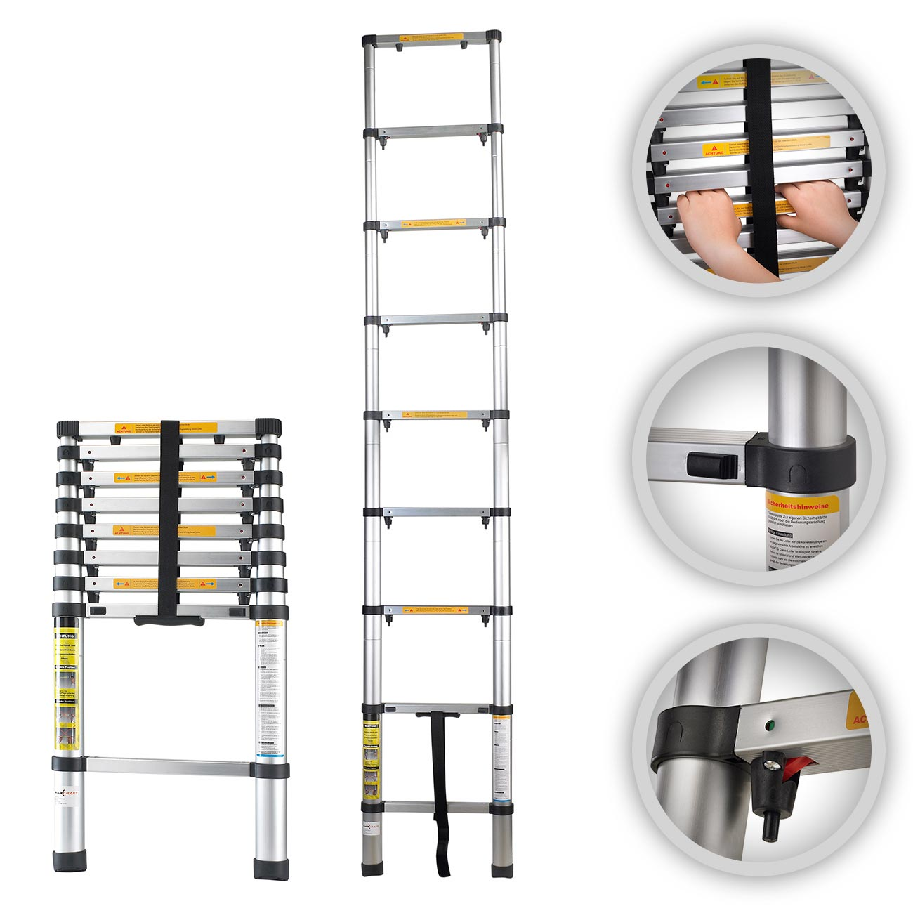 maxcraft 2 60 m telescopic aluminium ladder with finger protection spacers diy telecopic ladders. Black Bedroom Furniture Sets. Home Design Ideas