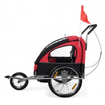 SAMAX Children Bike Trailer 2in1 Jogger Stroller with Suspension - in Red/Black - Silver Frame – Bild 4