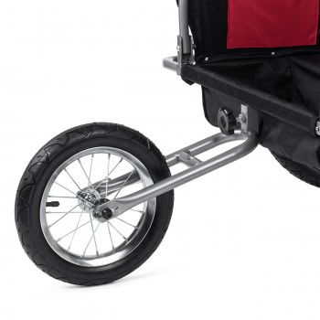 SAMAX Children Bike Trailer 2in1 Jogger Stroller with Suspension - in Red/Black - Silver Frame – Bild 12