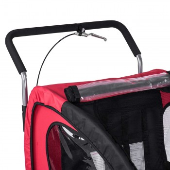 SAMAX Children Bike Trailer 2in1 Jogger Stroller with Suspension - in Red/Black - Silver Frame – Bild 10