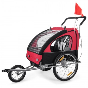 SAMAX Children Bike Trailer 2in1 Jogger Stroller with Suspension - in Red/Black - Silver Frame – Bild 3