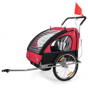 SAMAX Children Bike Trailer 2in1 Jogger Stroller with Suspension - in Red/Black - Silver Frame – Bild 2
