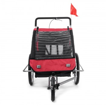 SAMAX Children Bike Trailer 2in1 Jogger Stroller with Suspension - in Red/Black - Silver Frame – Bild 7