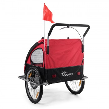 SAMAX Children Bike Trailer 2in1 Jogger Stroller with Suspension - in Red/Black - Silver Frame – Bild 5