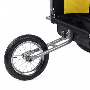SAMAX Children Bike Trailer 2in1 Jogger Stroller with Suspension - in Yellow/Black - Silver Frame – Bild 12