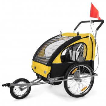 SAMAX Children Bike Trailer 2in1 Jogger Stroller with Suspension - in Yellow/Black - Silver Frame – Bild 3