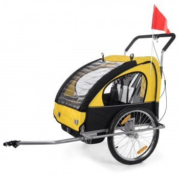 SAMAX Children Bike Trailer 2in1 Jogger Stroller with Suspension - in Yellow/Black - Silver Frame – Bild 2