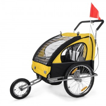 SAMAX Children Bike Trailer 2in1 Jogger Stroller with Suspension - in Yellow/Black - Silver Frame – Bild 1