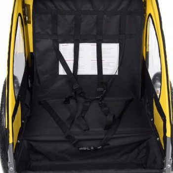 SAMAX Children Bike Trailer 2in1 Jogger Stroller with Suspension - in Yellow/Black - Silver Frame – Bild 9