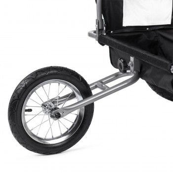 SAMAX Children Bike Trailer 2in1 Jogger Stroller with Suspension - in White/Black - Silver Frame – Bild 12
