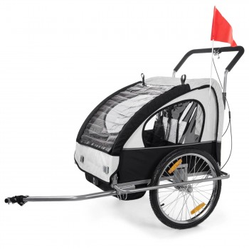 SAMAX Children Bike Trailer 2in1 Jogger Stroller with Suspension - in White/Black - Silver Frame – Bild 2