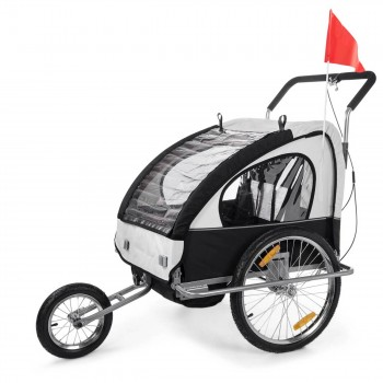 SAMAX Children Bike Trailer 2in1 Jogger Stroller with Suspension - in White/Black - Silver Frame – Bild 1