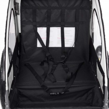 SAMAX Children Bike Trailer 2in1 Jogger Stroller with Suspension - in White/Black - Silver Frame – Bild 9