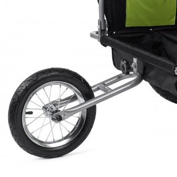 SAMAX Children Bike Trailer 2in1 Jogger Stroller with Suspension - in Green/Black - Silver Frame – Bild 12