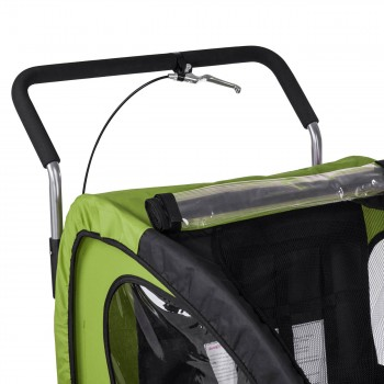 SAMAX Children Bike Trailer 2in1 Jogger Stroller with Suspension - in Green/Black - Silver Frame – Bild 10