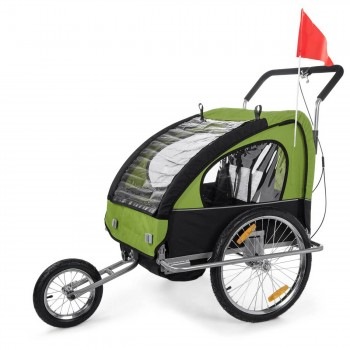 SAMAX Children Bike Trailer 2in1 Jogger Stroller with Suspension - in Green/Black - Silver Frame – Bild 1