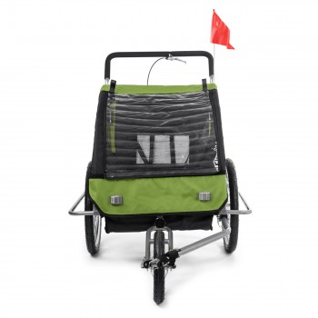 SAMAX Children Bike Trailer 2in1 Jogger Stroller with Suspension - in Green/Black - Silver Frame – Bild 7