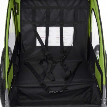 SAMAX Children Bike Trailer 2in1 Jogger Stroller with Suspension - in Green/Black - Silver Frame – Bild 9