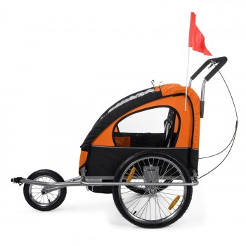 SAMAX Children Bike Trailer 2in1 Jogger Stroller with Suspension - in Orange/Black - Silver Frame – Bild 5