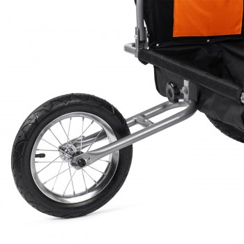 SAMAX Children Bike Trailer 2in1 Jogger Stroller with Suspension - in Orange/Black - Silver Frame – Bild 11
