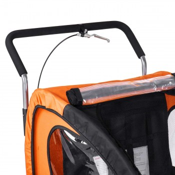 SAMAX Children Bike Trailer 2in1 Jogger Stroller with Suspension - in Orange/Black - Silver Frame – Bild 12