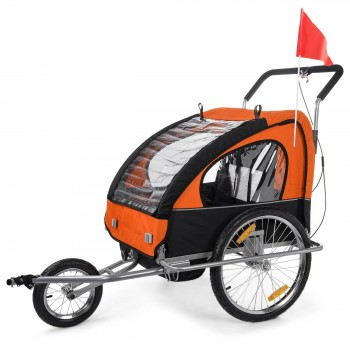 SAMAX Children Bike Trailer 2in1 Jogger Stroller with Suspension - in Orange/Black - Silver Frame – Bild 3