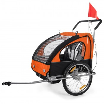 SAMAX Children Bike Trailer 2in1 Jogger Stroller with Suspension - in Orange/Black - Silver Frame – Bild 2