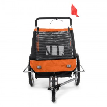 SAMAX Children Bike Trailer 2in1 Jogger Stroller with Suspension - in Orange/Black - Silver Frame – Bild 6