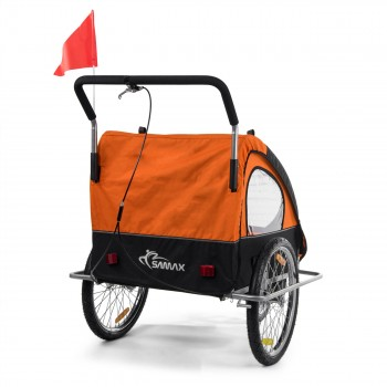 SAMAX Children Bike Trailer 2in1 Jogger Stroller with Suspension - in Orange/Black - Silver Frame – Bild 8
