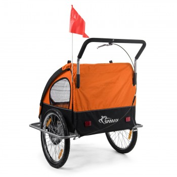 SAMAX Children Bike Trailer 2in1 Jogger Stroller with Suspension - in Orange/Black - Silver Frame – Bild 7