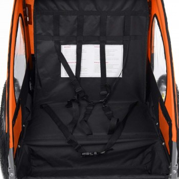 SAMAX Children Bike Trailer 2in1 Jogger Stroller with Suspension - in Orange/Black - Silver Frame – Bild 10