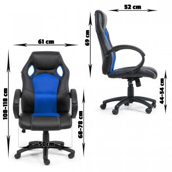 MY SIT Office Chair Racing Chair Silverblue Synthetic Leather – Bild 4