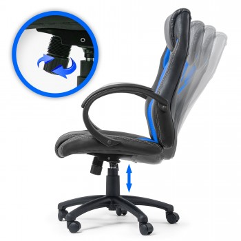 MY SIT Office Chair Racing Chair Silverblue Synthetic Leather – Bild 3