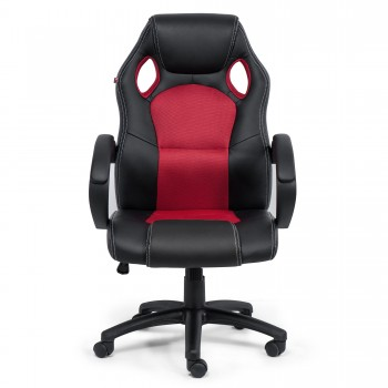 MY SIT Office Chair Racing Chair Red Synthetic Leather – Bild 2