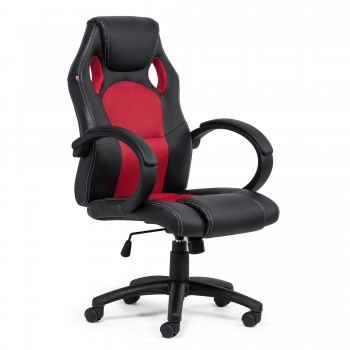 MY SIT Office Chair Racing Chair Red Synthetic Leather – Bild 9