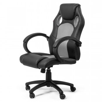 MY SIT Office Chair Racing Chair Silver Synthetic Leather – Bild 1