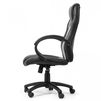 MY SIT Office Chair Racing Chair Silver Synthetic Leather – Bild 5