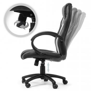 MY SIT Office Chair Racing Chair Silver Synthetic Leather – Bild 3