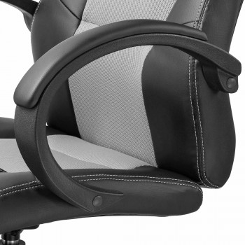 MY SIT Office Chair Racing Chair Silver Synthetic Leather – Bild 11