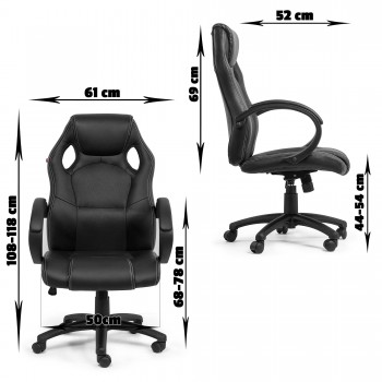 MY SIT Office Chair Racing Chair Black Synthetic Leather – Bild 4