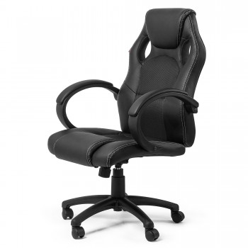MY SIT Office Chair Racing Chair Black Synthetic Leather – Bild 1