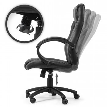 MY SIT Office Chair Racing Chair Black Synthetic Leather – Bild 3
