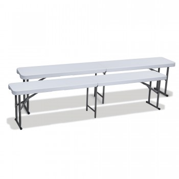 Strattore Double Set Garden / Camping Bench Plastic - Foldable 183 x 30 x 43,5 cm – Bild 1