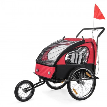 SAMAX Children Bike Trailer 2in1 Jogger Stroller with Suspension - in Red/Black - Black Frame – Bild 1