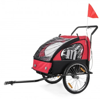 SAMAX Children Bike Trailer 2in1 Jogger Stroller with Suspension - in Red/Black - Black Frame – Bild 2