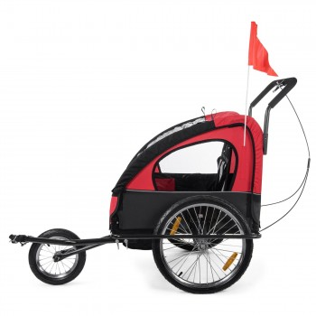 SAMAX Children Bike Trailer 2in1 Jogger Stroller with Suspension - in Red/Black - Black Frame – Bild 4