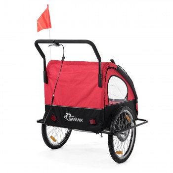 SAMAX Children Bike Trailer 2in1 Jogger Stroller with Suspension - in Red/Black - Black Frame – Bild 6