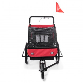 SAMAX Children Bike Trailer 2in1 Jogger Stroller with Suspension - in Red/Black - Black Frame – Bild 7