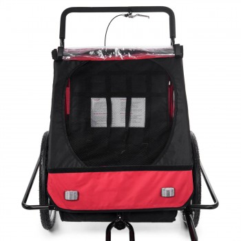 SAMAX Children Bike Trailer 2in1 Jogger Stroller with Suspension - in Red/Black - Black Frame – Bild 8